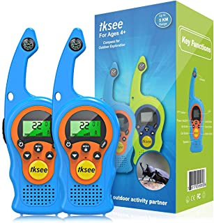 iKsee Walkie Talkies for Kids, 22 Channel 2 Way Radio 3 Mile Long Range with Compass Flashlight, Best Gifts Toys for Age 3 4 5 6 7 8 9 Boys and Girls to Outside Adventure