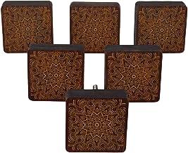 IBA Indianbeautifulart Bruin gegraveerde knoppen Pack van 10 houten kast deurknoppen lade trekken
