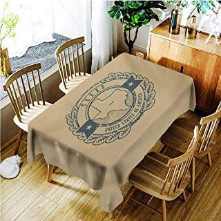 Custom Tablecloth,Texas Grunge Retro Rubber Stamp with Name and Map of Texas United States of America,Dinner Picnic Table Cloth Home Decoration,W60X102L,Khaki Cadet Blue
