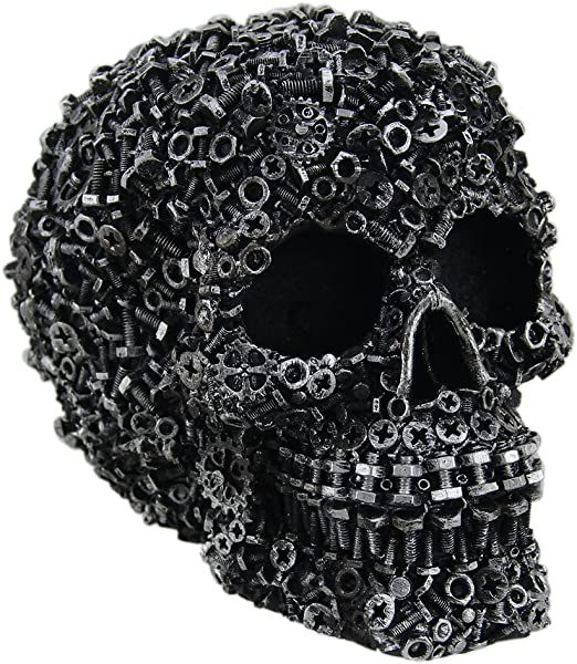 Zeckos Scrap Head Steampunk Junk Pile Nuts Bolts Covered Skull Statue 6 Inch