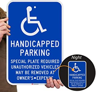 """SmartSign """"Handicapped Parking - Special Plate Required, Unauthorized Vehicles Removed"""" Sign 