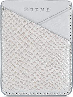 Fusicase Phone Card Holder Wallet Sticky Phone Wallet PU Leather Wallet with Glossy Holographic Gradient Ramp Snake Skin Design Pocket Pouch Sleeve Slim Sticky Wallet for Back of Phone Case Silver