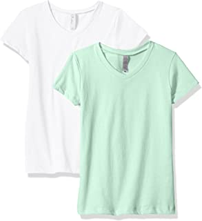 Clementine Apparel Women's 2 Pack Short Sleeve T Shirts Easy Tag V Neck Soft Cotton Blend Undershirt Tees (6640)