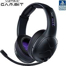 هدست بازی بی سیم و سیم دار Victrix Gambit Black با میکروفن - PlayStation (PS4، PS5) PC - Esports -Ready Pro Audio ، میکروفون حذف نویز ، هدفون فوق العاده راحت روی گوش