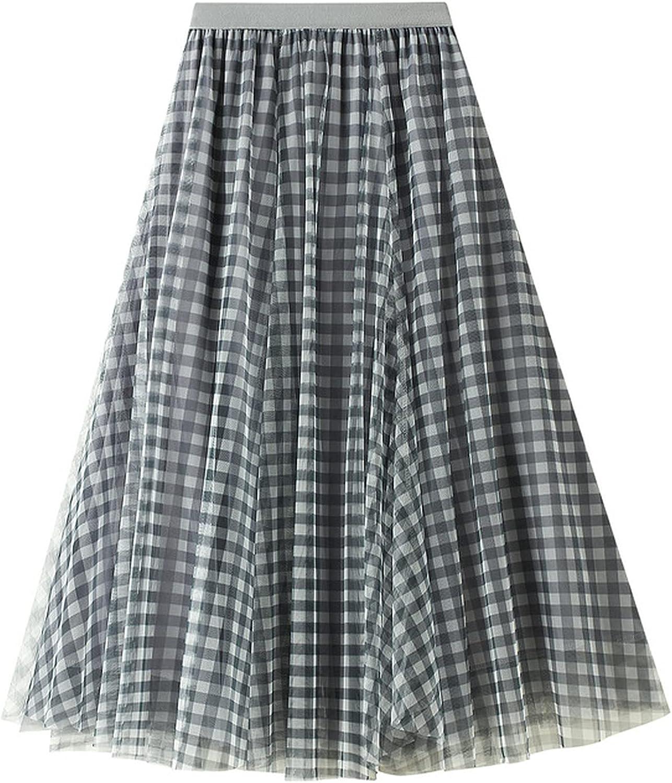 MEWOW Women's High Waist Vintage Checkered Mesh A Line Midi Long Pleated Skirt