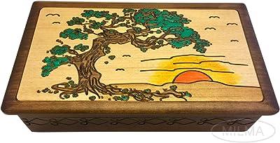 MilmaArtGift Sunset Japanese Pine Tree Wooden Box Polish Decorative Handmade Wood Keepsake Box