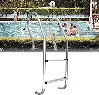 Swimming Pool Ladder, 304 Stainless Steel Non?Slip Pool Escalator, 2-Step Pool Ladder Easy Mount, Weight Capability 330 lbs