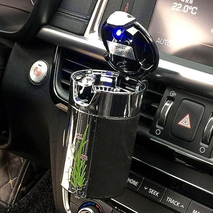 Fms Tragbare Auto Aschenbecher Mit Deckel Und Blauer Led Licht Für Getränkehalter Oder Lüftung Schwarz Auto