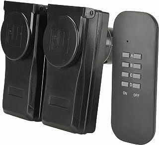 Unitec 48113 - Enchufes para exteriores con control a distancia (2 enchufes y un mando a distancia), color negro [Importado de Alemania]