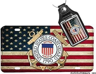 US Coast Guard American Flag Emblem Aluminum License Plate, Faux Leather Key Ring, Vinyl Flag Decal