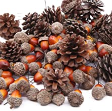 Total 120 Pcs Artificial Acorns and Natural Pinecones Ornament Set for Home House Christmas Decoration Photo Props