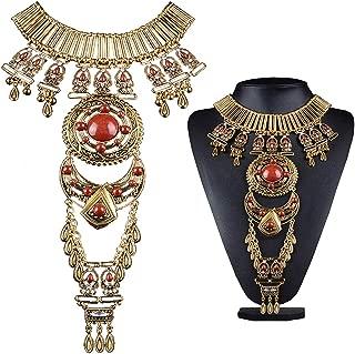 Prime Amazon Day Deals Sale 2019-Bluegoog Womens Vintage Boho Statement Turquoise Necklace Ethnic Tribal Long Beaded Jewelry