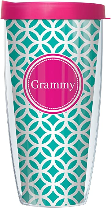 Signature Tumblers Pink Grammy Insignia Wrap On Teal And White Roundabout 16 Ounce Double Walled Travel Tumbler Mug With Hot Pink Easy Sip Lid Kitchen Dining Amazon Com