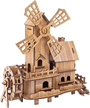 Wooden Puzzles Model Kits Dutch Windmill Assembled Educational Toys 3D Puzzle Challenge Gift for Adults Kids