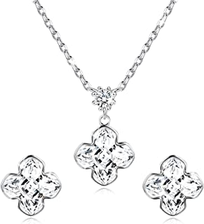 Sllaiss 925 Sterling Silver Daisy Flower Crystal Necklace Earrings Set for Women Crystals from Swarovski, Four Leaf Clover Fine Jewelry Set for Wife, Love Birthday Anniversary with Gift Box