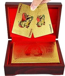 SandiaSummer 24K Gold Foil Playing Cards $100 Dollar Poker Full Deck with Wood Box