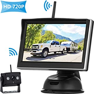 HD 720P Digital Wireless Backup Camera High-Speed Observation System for RVs/Trucks/Vans/Pickups/Trailers with 5''Monitor Rear/Front View IP69K Waterproof Super Night Vision Continous/Reversing Use