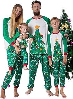 Fossen Kids Pijamas Familiares Navidad Arbol de Navidad, Pijama Navidad Familia de Manga Larga Conjunto de Mujer Hombre Be...