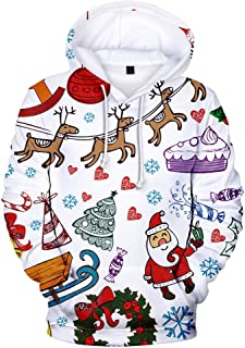 Fashion Women's Hooded Christmas Printing Pullover Long Sleeves Hooded Cap Sweater Tops