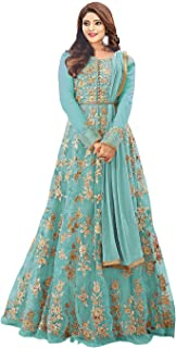Mordenfab Women Net Embroidered Semi Stictehd Salwar Suit(H96_Free Size)