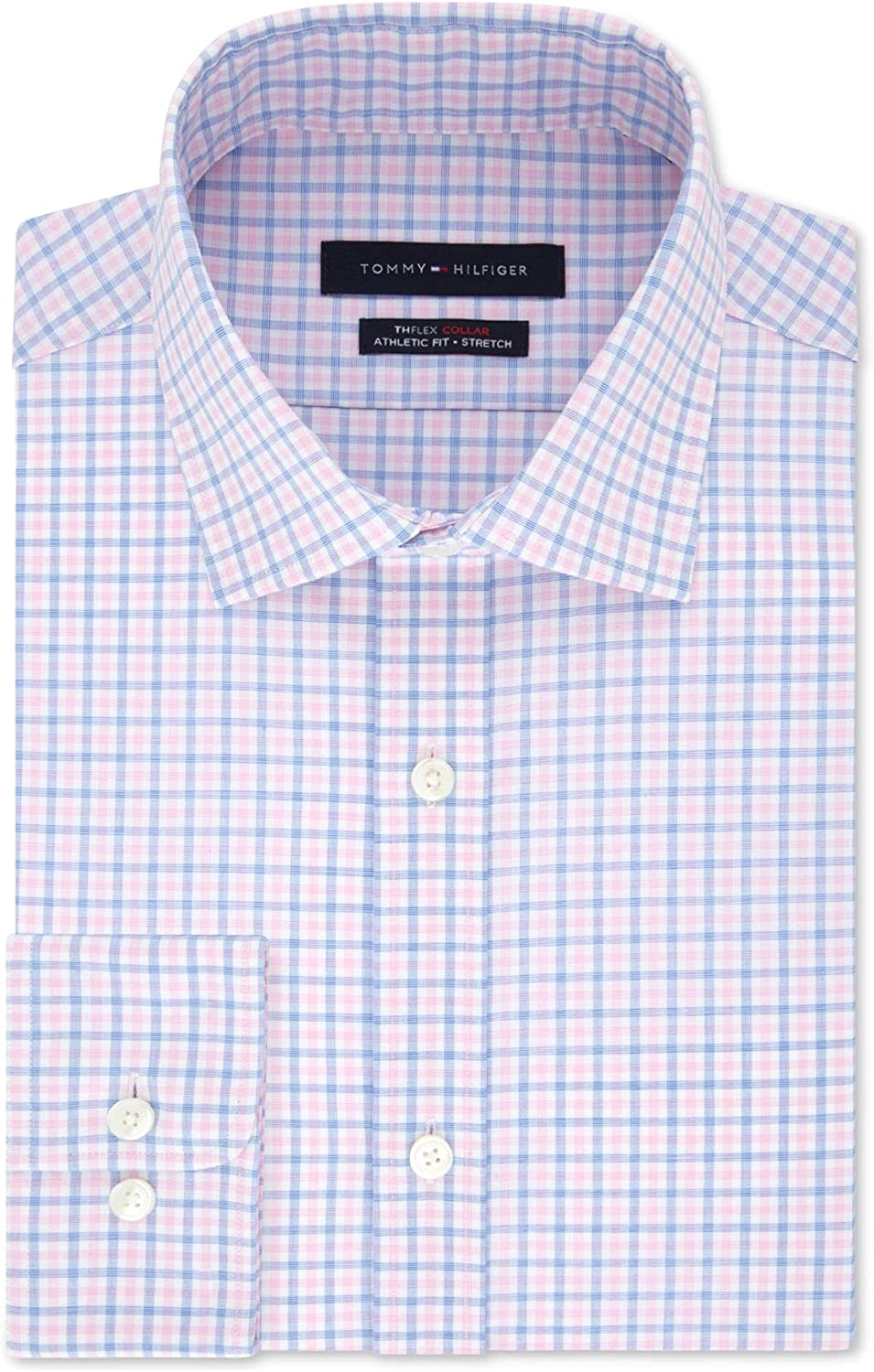 Tommy Hilfiger Mens Pink Check Collared Classic Fit Stretch Dress Shirt L