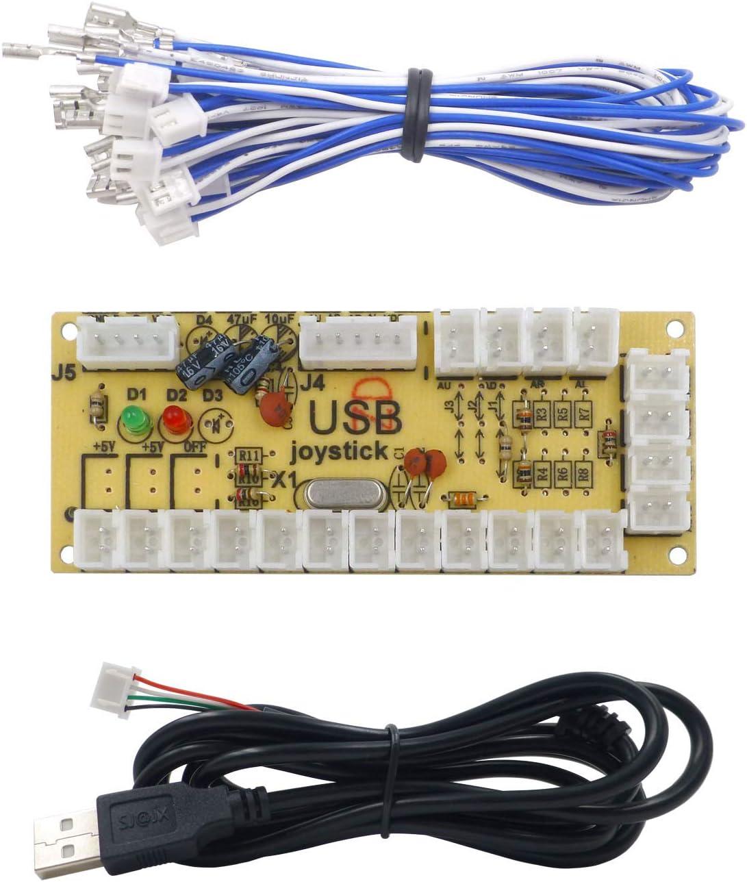 SJ@JX Arcade USB Encoder Fight Stick Raspberry Pi Joystick Button PC MAME Retro Pie Zero Delay USB 5V Encoder Board