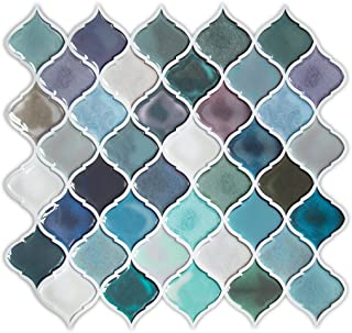 HUE DECORATION Peel and Stick Tile 11 x 10 inch Turquoise