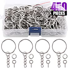 "Swpeet 450Pcs 1"" 25mm Sliver Key Chain Rings Kit, Including 150Pcs Keychain Rings with Chain and 150Pcs Jump Ring with 150Pcs Screw Eye Pins Bulk for Jewelry Findings Making (Sliver)"
