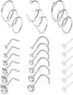 Yaalozei 18G 27 Pcs Stainless Steel Nose Rings Hoop L-Shape Nose Studs Ring Body Piercing Jewelry for Women Men 1.5mm 2mm 2.5mm 3mm 3.5mm 4mm