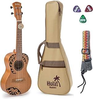 Hola! Music HM-124TT+ Laser Engraved Mahogany Concert Ukulele Bundle with Aquila Strings, Padded Gig Bag, Strap and Picks ...