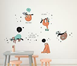 Amazon Brand - Solimo Wall Sticker for Living Room (Lazy Sloths, Ideal Size on Wall: 110 cm x 134 cm)