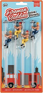 Drinking Buddies Firemen Themed Reuseable Glass Markers, 4 Buddies, Drink Stirrer