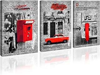 3 Piece Wall Art Decor Canvas Prints small Framed Artwork Wall background Red mailbox car phone Colorful Figure Street Wall Decor Pics office Restaurant bar for Living Room Bedroom Decor Ready to Hang