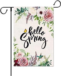 LucaSng Spring Garden Flag Hello Spring Quote Vertical Double Sized, Flower Bird Butterfly Spring Garden Yard Decoration