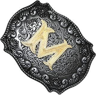 Baosity Western Belt Buckle Letters A-Z Cowboy Rodeo Gold Belt Buckle For Men Women