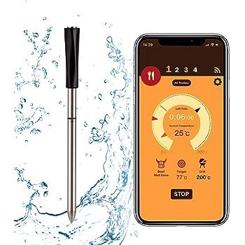 FITCHCE Drahtloses Fleischthermometer, Grillthermometer Intelligentes Kochthermometer mit Bluetooth für Raucherküche Grillofen, Support Ios & Android