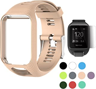 TUSITA Band for Tomtom Runner 2 3,Spark 3,Golfer 2,Adventurer - Silicone Strap Bracelet Wristband with Screen Protector - GPS Smart Watch Accessories