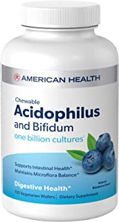 American Health Chewable Probiotic Acidophilus and Bifidum, Natural Blueberry Flavor Wafers - Supports Digestive Health, I...
