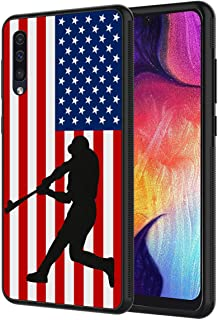 Galaxy A50 Case,Silhouettes of Baseball Player USA Flag Pattern Anti-Scratch Shock Proof Black TPU and PC Protection Case Cover for Samsung Galaxy A50 6.4 inch (2019)