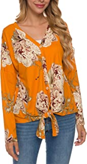 Simier Fariry Womens Long Sleeve Casual Button Down Front Tie Knot Tops Shirts