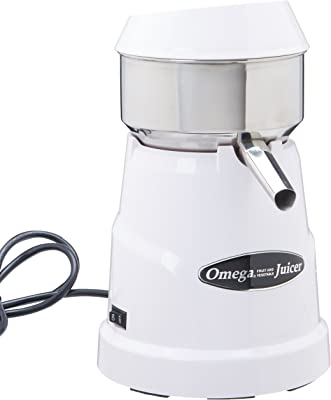 Omega C-10W Professional Citrus Juicer Features 3 Juice Cones for All Citrus Sizes 150 Rotations Per Minute Surgical Steel Bowl and Pulp Strainer with Non-Slip Feet, White