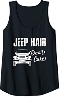 Womens Funny Shirt for Womens Jeep Hair Dont Care Tank Top