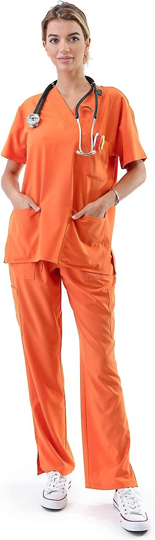 Women's Medical Uniform Scrubs Set – 4 Way Stretch 8 Pocket V-Neck Top with Drawstring Pants Nursing Dental, Orange 5X-Plus