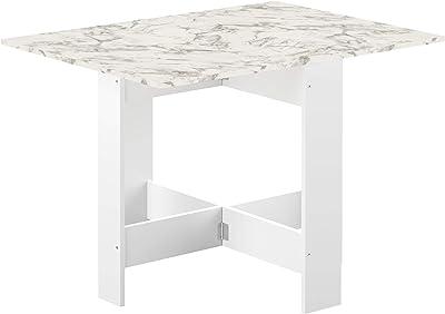 Papillon, Table pliante avec 2 abattants, en Panneaux de Particules Melaminés, Blanc Marbre, 103/67/28x76x73,4 (LxPxA)