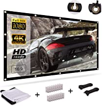 120 Inch Projector Screen, Lightimetunnel 16:9 HD Portable Widescreen Foldable Anti-Crease Indoor Outdoor Projector Movies Screen for Home Theater Office, Support Double-Sided Projection