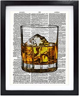 Susie Arts 8X10 Unframed Whisky Glass Art Print Housewarming Gift Bedroom Wall Decor Upcycled Vintage Dictionary Art Print...
