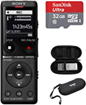 Sony ICD-UX570 Series Digital Voice Recorder (Black) with Built-in USB with 32GB microSD and Knox Gear Hard Carrying case