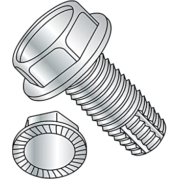Slotted Drive 1//2 Length Zinc Plated Finish Serrated Hex Washer Head Small Parts 1208FSWS Type F #12-24 Thread Size Pack of 100 Steel Thread Cutting Screw Pack of 100 1//2 Length