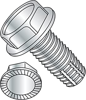 """Steel Thread Cutting Screw, Zinc Plated Finish, Serrated Hex Washer Head, Type F, 1/4""""-20 Thread Size, 3/4"""" Length (Pack o..."""