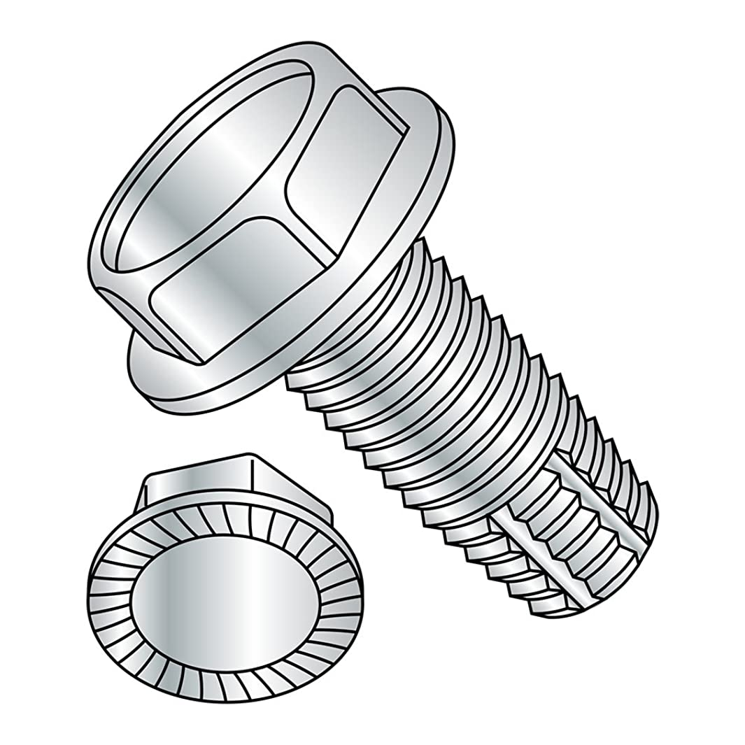 Steel Thread Cutting Screw, Zinc Plated Finish, Serrated Hex Washer Head, Type F, 1/4